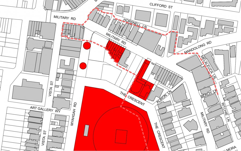 Heritage items (red) and Military Rd and The Crescent Conservation Areas (dashed line)